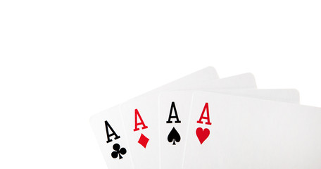 four cards with aces on white background