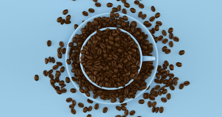 Blue Coffee Cup an Saucer Full Of Coffee Beans 3d illustration