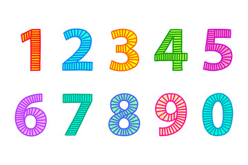 Multi colored freehand drawn numbers from one to zero. Outlines with lines in even distances, filled out with coordinated bright colors. Illustration. Isolated on white background. Vector.