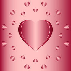 Valentine's Day concept for card, invitations, packets. Big Heart and hearts arranged in a circle on a pink background. Romantic love. Paper art style. Women's Gift. Vector illustration EPS 8.