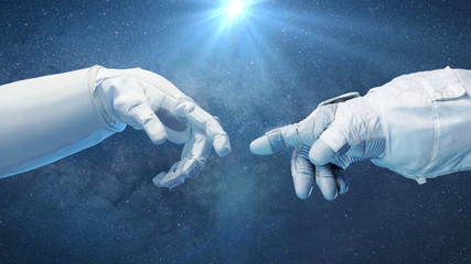 two near touching hands in space suits, Michelangelo touch pose