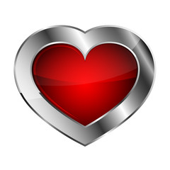 Silver heart icon. Vector illustration.