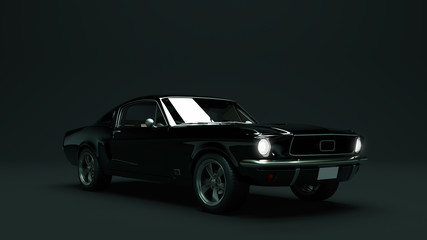 Powerful Black Muscle Car 3d illustration