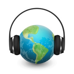Music planet earth with headphones, vector realistic illustration
