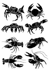 Graphical set of crabs isolated on white background,vector sea food illustration