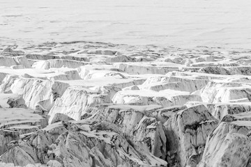 Close-up of a Glacier with Crevasses
