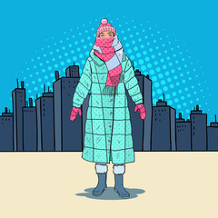 Pop Art Beautiful Woman in Warm Winter Clothes in the City. Cold Weather. Vector illustration