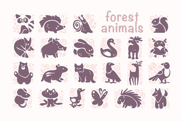 Vector collection of flat cute animal icons isolated on white background. Forest animals and birds symbols. Hand drawn emblems. Perfect for logo design, infographic, prints etc.