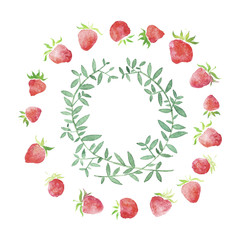 Watercolor strawberries, wedding  rustic framed wreath , rural restaurant banner background with natural watercolor splash painting texture. Wedding card, greeting cards, creation of hipster label.