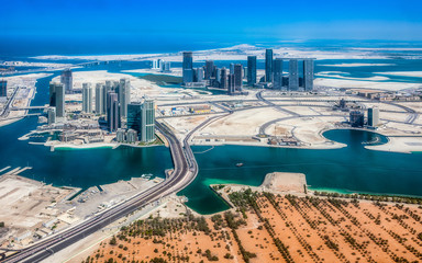 Aerial view of maryah island in Abu Dhabi