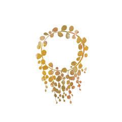 Golden wedding rustic wreath , rural restaurant banner background with natural gold foil textures. For wedding card, greeting cards and creation of hipster labels and natural eco and bio shops.