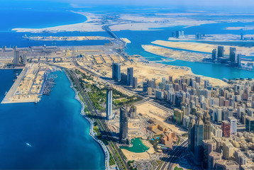 Aerial view from helicopter to Abu Dhabi