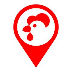 Icono plano localizacion cabeza de gallina rojo