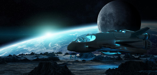 Astronauts exploring an asteroid 3D rendering elements of this image furnished by NASA