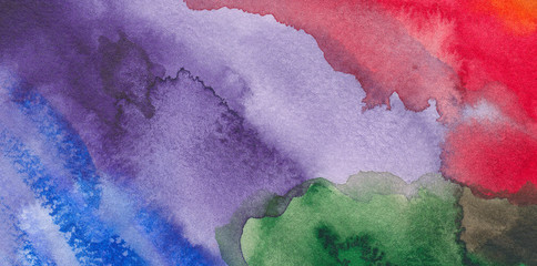 Abstract watercolor painting in several colors - closeup