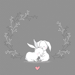 Vector Greeting Card. Cute Hugging Rabbit with Heart. Gray seamless patterns are included