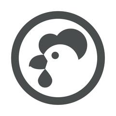 Icono plano cabeza de gallina en circulo color gris