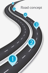 Winding 3D road concept on a white background. Timeline templat