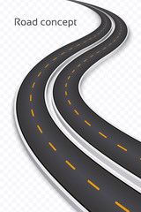 Winding 3D road concept on a transparent background. Timeline te