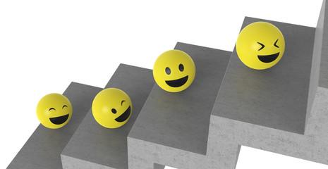 Smileys auf einer Treppe