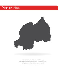 Vector map Rwanda. Isolated vector Illustration. Black on White background. EPS 10 Illustration.