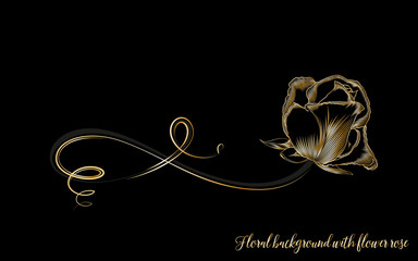 Stylish vintage background with golden  hand-drawn rose flower.