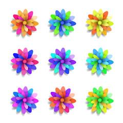 Colored paper flowers set. Spring vector design elements.