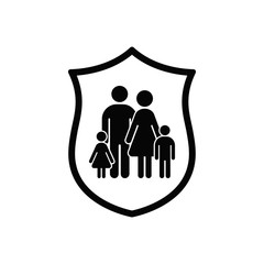 Shield And Family Icon, Vector safety concept flat symbol