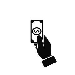 Hand Holding Money Icon, Vector isolated flat style black illustration