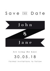 Save the Date Invitation Black ribbon theme