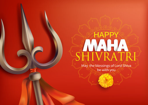 Greeting card with trishula for Maha Shivratri, a Hindu festival celebrated of Shiva Lord. Vector illustration.