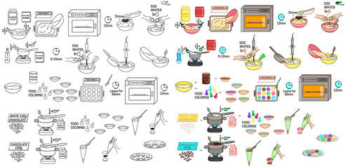 Recipe French macaroons DIY instruction including sketch