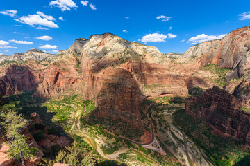 Wide angle panorama view of Zion Canyon, with the virgin river, Angels Landing Trail, Zion National Park, Utah, USA