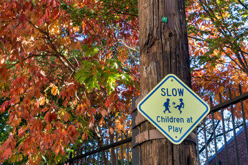 Slow children at play sign with fall leaves in backdrop