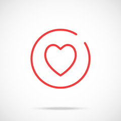 Thin line heart icon. Red heart in circle. Logo concept. Modern flat illustration isolated on gradient background. Vector round line icon