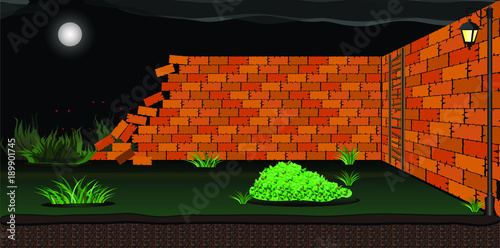 Wracked Brick Wall 2D Game Asset
