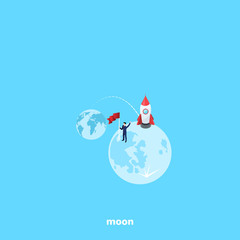 a man in a business suit conquered the moon, isometric image