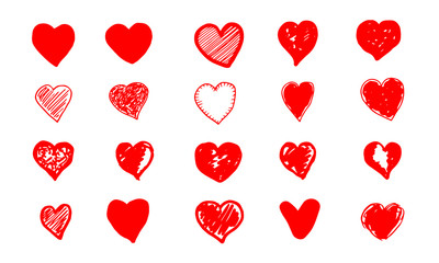 Set of hand drawn red grunge hearts. Vector illustration.