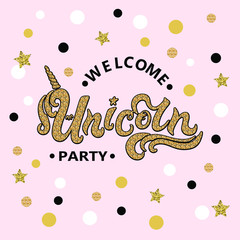 Search photos banner template vector illustration welcome unicorn party text isolated on pink background hand drawn unicorn lettering pronofoot35fo Gallery