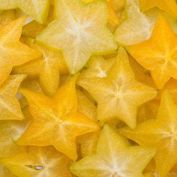 .Star fruit, starfruit or star apple , Averrhoa carambola slice background