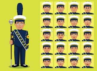 Marching Band Drum Major Cartoon Character Emotion faces