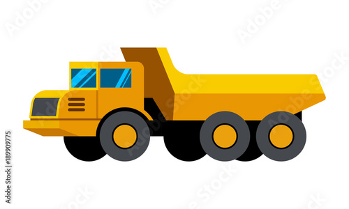 Articulated Dump Truck Minimalistic Icon Isolated Construction Equipment Vector Heavy Vehicle