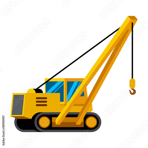 Pipelayer Vehicle Minimalistic Icon Isolated Construction Equipment Vector Heavy Color