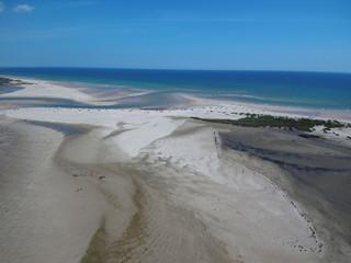 Cacela Velha  en Portugal,aldea costera  del Algarve, en la zona del Parque Natural de Ria Formosa  perteneciente a Vila Real de Santo António. Fotografia aerea con drone
