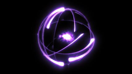Bright stylised scientific atom purple