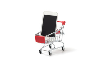 Smart phone in shopping cart on white background,concept buying