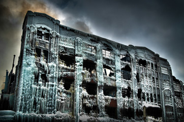 Vintage Chicago industrial warehouse factory turned into an ice palace after a fire.