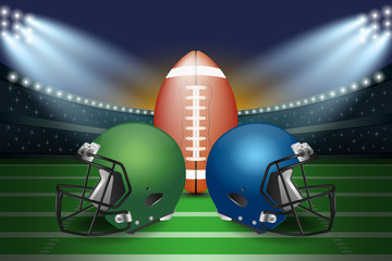 American football final match concept. Silver and green Helmets and football on field of stadium with spotlight background.