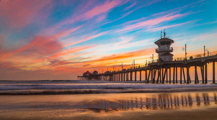 Sunset by the Huntington Beach Pier in California