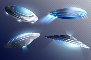 Alien Spaceships Transparent Background Set